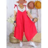 Robe combi été lin grande taille bohème YONI Framboise Robe longue femme