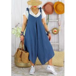 Robe combi été lin grande taille bohème YONI Bleu jean-Robe longue femme-CHARLESELIE94