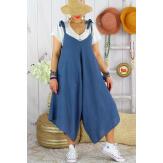 Robe combi été lin grande taille bohème YONI Bleu jean Robe longue femme