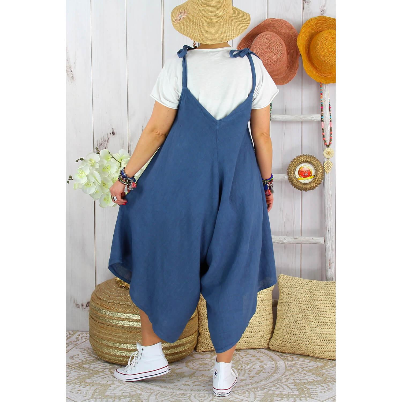 Robe Grande Taille Combinaison Lin Ete Yoni Bleu Jean Charleselie94
