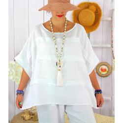 Tunique été lin grande taille ethnique MADISON Blanc