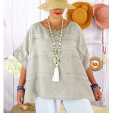 Tunique été lin grande taille ethnique MADISON beige Tunique été femme
