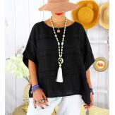 Tunique été pur lin grandes tailles ethnique MADISON noire Tunique été femme
