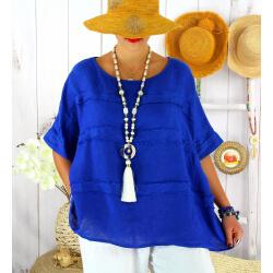 Tunique été lin grande taille ethnique MADISON Bleu royal