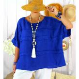 Tunique été pur lin grande taille ethnique MADISON bleu royal Tunique été femme