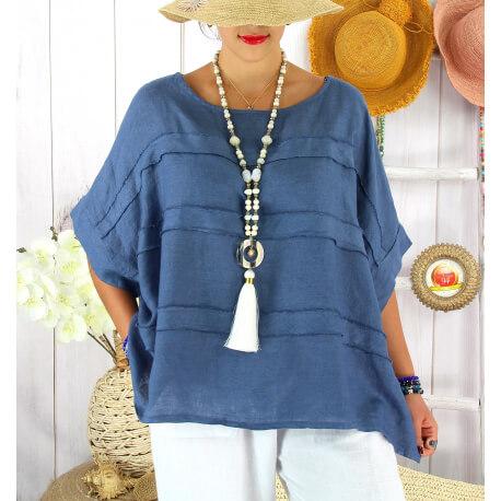 Tunique été pur lin grandes tailles ethnique MADISON Bleu jean Tunique été femme