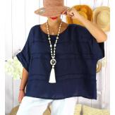 Tunique été lin grande taille ethnique MADISON bleu marine Tunique été femme