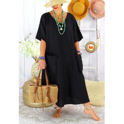 Robe longue été lin grande taille bohème COSMA Noir