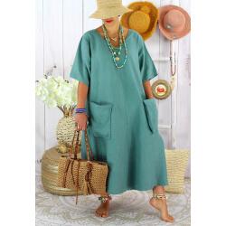 Robe longue été lin grande taille bohème COSMA Vert jade