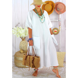 Robe longue été lin grande taille bohème COSMA Blanc