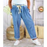 Pantalon été lin coton femme grande taille IPANEMA Bleu jean