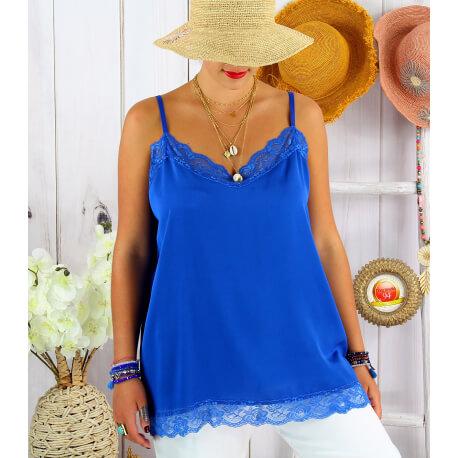 Top à bretelles été dentelle grande taille JOSH Bleu royal Top en dentelle femme