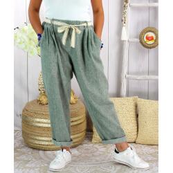 Pantalon été lin coton femme grande taille IPANEMA Kaki