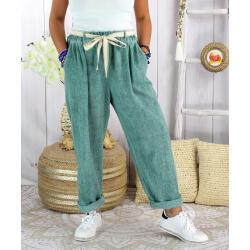 Pantalon été lin coton femme grande taille IPANEMA Vert jade