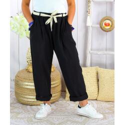 Pantalon été lin coton femme grande taille IPANEMA Noir