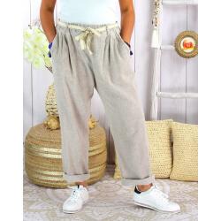 Pantalon été lin coton femme grande taille IPANEMA Beige