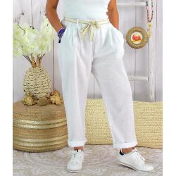 Pantalon été lin coton femme grande taille IPANEMA Blanc
