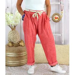 Pantalon été lin coton femme grande taille IPANEMA Rouge