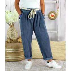Pantalon été lin coton femme grande taille IPANEMA Bleu marine