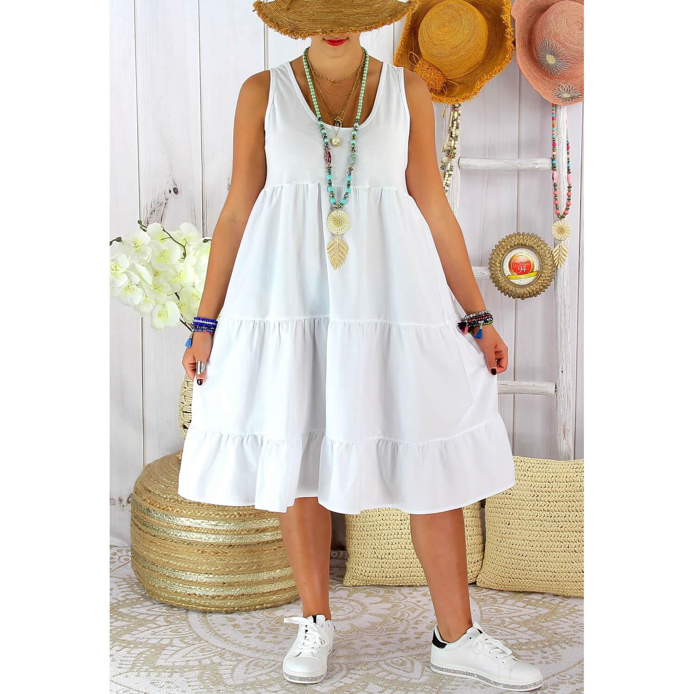 Robe D Ete Grande Taille Volants Coton Please Blanche Charleselie94