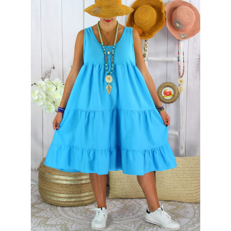 Robe été grande taille volants coton PLEASE Turquoise Robe été grande taille