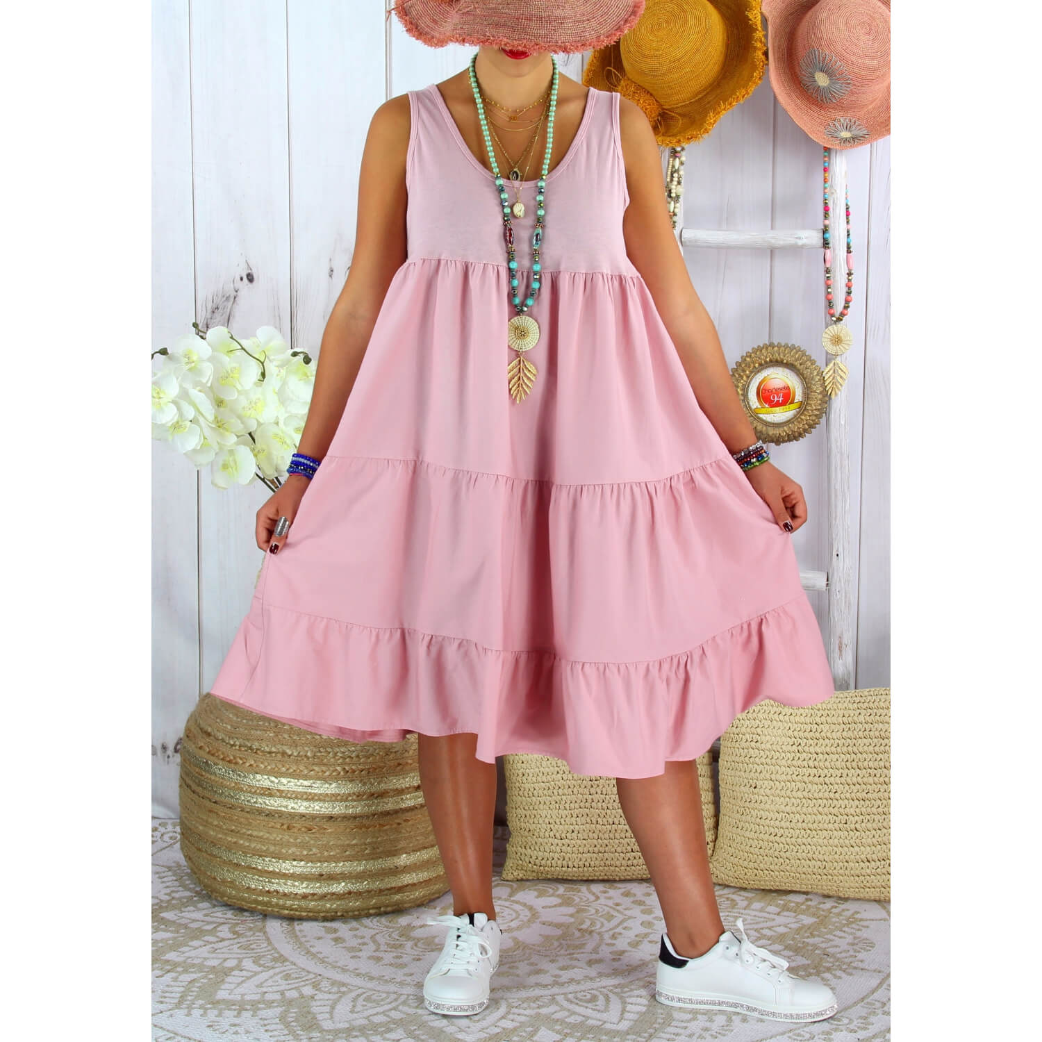 Robe D Ete Grande Taille Volants Coton Please Rose Charleselie94