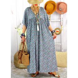 Robe longue été grande taille fleurie liberty DIANE Bleu jean Robe été grande taille