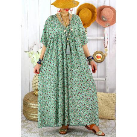 Robe longue été grande taille fleurie liberty DIANE Amande Robe été grande taille