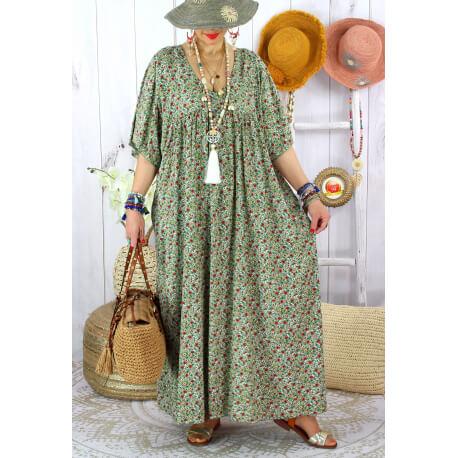 Robe longue été grande taille fleurie liberty DIANE Kaki Robe été grande taille