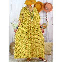Robe longue été grande taille fleurie liberty DIANE Jaune