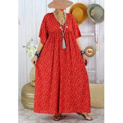 Robe longue été grande taille fleurie liberty DIANE Rouge