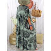 Robe longue été femme grande taille tie dye MAGIC Kaki Robe été grande taille