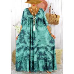 Robe longue été femme grande taille tie dye MAGIC Jade Robe été grande taille