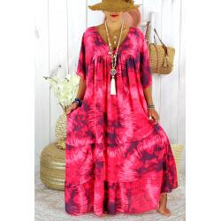 Robe longue été femme grande taille tie dye MAGIC Fushia Robe été grande taille