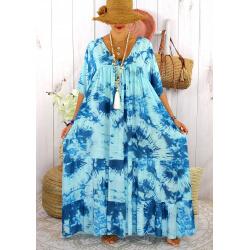 Robe longue été femme grande taille tie dye MAGIC Turquoise