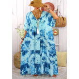 Robe longue été femme grande taille tie dye MAGIC Turquoise Robe été grande taille