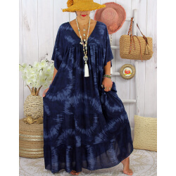 Robe longue été femme grande taille tie dye MAGIC Marine