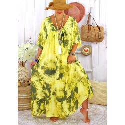 Robe longue été femme grande taille tie dye MAGIC Jaune Robe été grande taille
