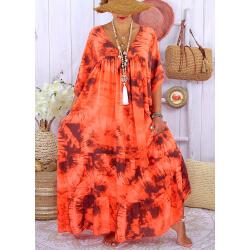 Robe longue été femme grande taille tie dye MAGIC Orange