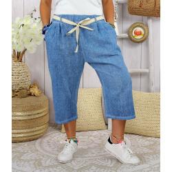 Pantacourt été lin femme grande taille LUCKY Bleu jean