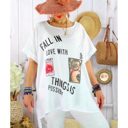 Tee shirt tunique été lin grande taille graphique SUNNY Blanc Tee shirt tunique femme grande taille