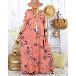 Robe longue été bohème grande taille YAHEL Vieux Rose