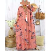 Robe longue été bohème grande taille YAHEL Vieux Rose Robe été grande taille