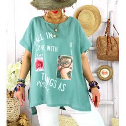 Tee shirt tunique été lin grande taille graphique SUNNY Amande Tee shirt tunique femme grande taille