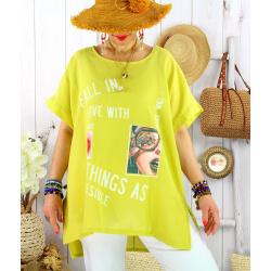Tee shirt tunique été lin grande taille graphique SUNNY Jaune Tee shirt tunique femme grande taille
