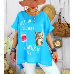 Tee shirt tunique été lin grande taille graphique SUNNY Turquoise