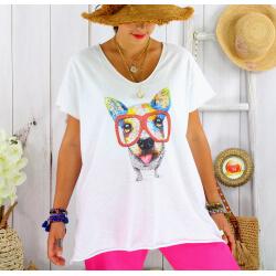 T-shirt coton blanc femme grande taille été chien BILLY 2