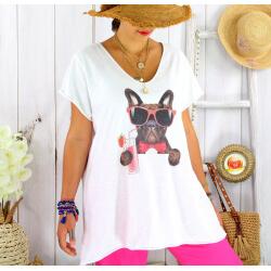 T-shirt coton blanc femme grande taille été chien BILLY 3