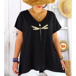 T-shirt coton été femme grande taille libellule ZYGO noir