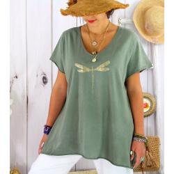 T-shirt coton été femme grande taille libellule ZYGO kaki